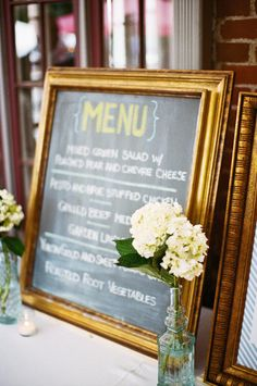 I was planning on using small chalkboards in old frames as table markers to begin with, maybe I can add an additional chalkboard menu.
