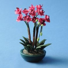 Miniature Pink Orchids - Decorating a Dollhouse for Valentine's Day