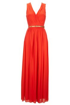 Love this color. Orange Maxi Dress ($105) #springstyle