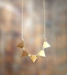 Brass Bunting Banner Necklace by Lanyapi Designs on Scoutmob Shoppe