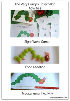 Collage of The Very Hungry Caterpillar Activities on @Jennifer Daniel FoursMom . There is a sight word activity , food creation and measurement activity.