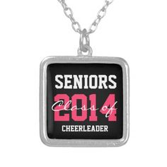 Custom Personalized Class of Sporty Pink+Black Necklace Pendant #graduation #classof2014