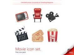 Movie Icon Set (PSD Source, PNG, JPG)
