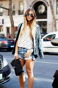 Drape a sequin jacket over casual separates. ..