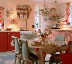 house tours, red kitchen, country cottages, shabby chic cottage, kitchen design, country kitchens, cottage kitchens, cottage style, vintage kitchen