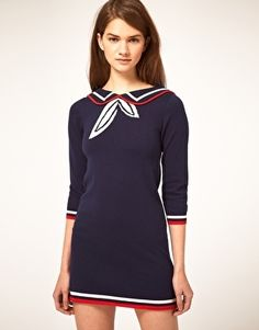 ASOS Knitted Dress With Sailor Collar - StyleSays