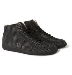 Maison Martin MargielaStudded Rubber And Leather High Top Sneakers|MR PORTER