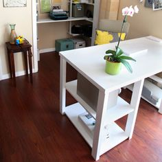 Use a hollow core door as an office table top!