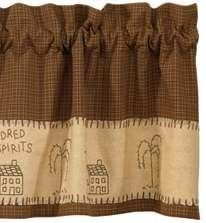"Park Designs ""Salt Box"" Country Valance by Primitive Home Decors. $29.95. 100% Cotton Fabric. Limited quantities available Salt Box Lined Valance 60"" Wide x 14"" Long 100% Cotton Lined 1-1/2"" header and a 2"" rod pocket. Shirr on conventional curtain rod. Priced and sold individually. Designed and manufactured by Park Designs."