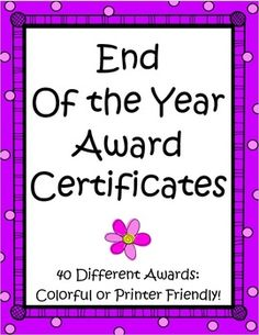 The End of the Year Award Certificates by the Teacher Next Door feature 40 different awards, so you'll be able to find one that is just right for each of your students. Each award is super cute and comes in two versions, one with a colorful border and a printer friendly version with a white border. $