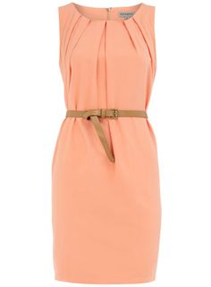 Peach sleeveless belted dress