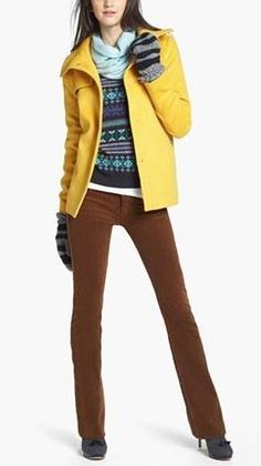 Brighten up a fall look: Yellow coat & colored corduroys