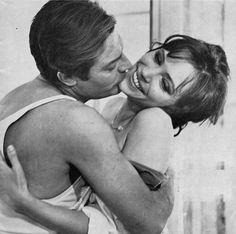 Existential cinema kiss... (Marcello Mastroianni & Anna Karina - The Stranger, Luchino Visconti)