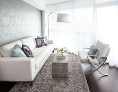 subtle wallpaper, mod furniture