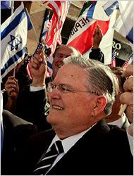 """John Hagee, Christian evangelist, CEO of a radio and TV network, and founder of CUFI, has said """"It was the disobedience and rebellion of the Jews, God's chosen people, to their covenantal responsibility to serve only the one true God, Jehovah, that gave rise to the opposition and persecution that they experienced beginning in Canaan and continuing to this very day... Their own rebellion had birthed the seed of antisemitism that would arise and bring destruction to them for centuries to come...."""""""
