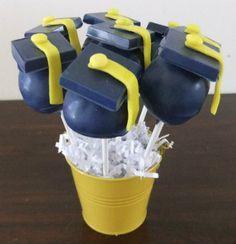 Blue Graduation Caps Cake Pops