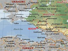 Map of #Sochi (Со́чи), #Russia Home of the #Olympic Winter games | Opening date: February 7, 2014 | Closing date: February 23, 2014