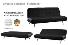 Tribeca Modern Convertible Futon Sofa Bed Sleeper Black