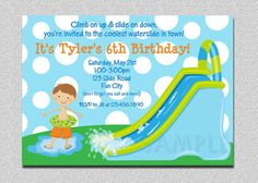 Pool Party Waterslide Birthday Invitations #poolparty #pool #summerparty
