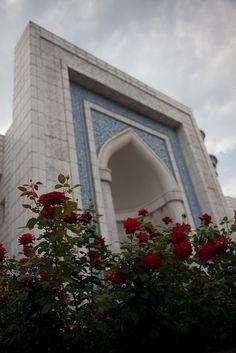 Mosque and flowers, Almaty Kazakhstan