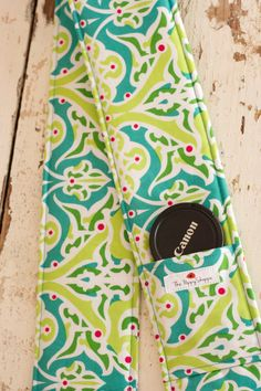 Camera Strap Cover with Lens Cap Pocket, Turquoise and Lime
