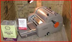 Mimeograph (aka ditto machine), forerunner to copy machines in schools. I can smell those purple worksheets now!