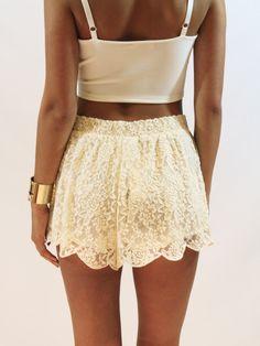 Ivory lace shorts