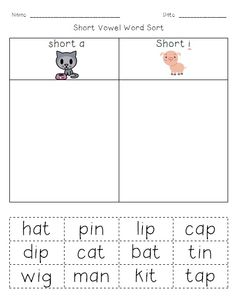short a and short i word sort