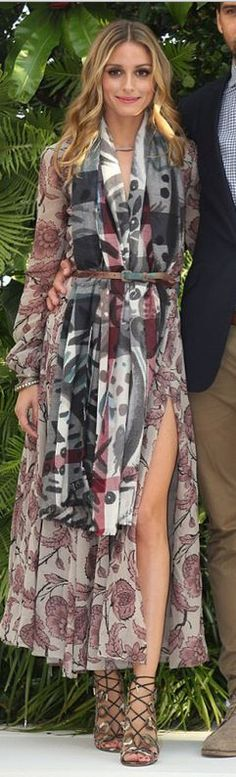 Olivia Palermo in Burberry scarf and dress; Aquazzura x Olivia lace up sandals in Melbourne.