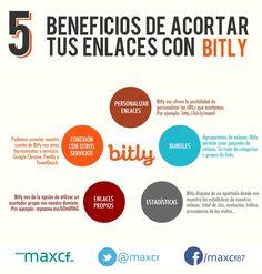 5 beneficios de acortar tus enlaces con Bitly. Infografía en español. #Communitymanager