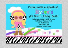 Winter Pool Party Birthday Invitation  #pool #party #indoorpool #birthdayinvitation