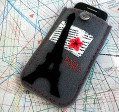 Felt phone case  Grey iphone case  Paris phone by dadahandmade, €12.00