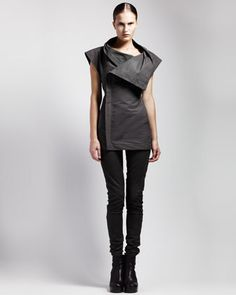 Sleeveless Asymmetric Jacket & Skinny Leather Leggings by Rick Owens at Bergdorf Goodman.