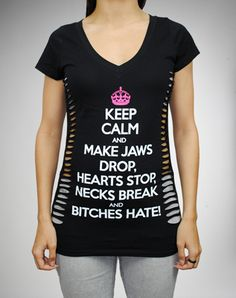"""Keep Calm and Make Jaws Drop..."" Laser Cut Junior Fitted Tee from Spencer's"