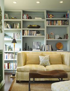 Pale blue built-in bookcase by Steven Miller Design Studio