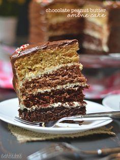 chocolate peanut butter ombre cake