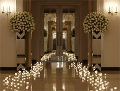 Twinkle lights as an aisle runner