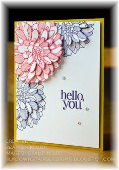 Regarding Dahlias stamp set, Elegant Eggplant & Primrose Petals ink, Summer Starfruit card base  by Downstairs Designs