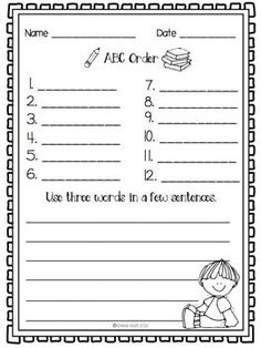 Word Work Grab and Go- Language Worksheets for anytime of the year