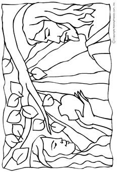 Adam and Eve Colouring Page
