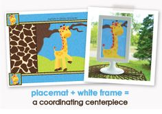 Placemat + White Frame = A Coordinating Centerpiece