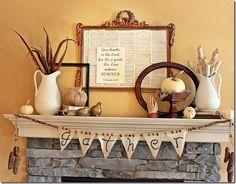 Autumn mantle and burlap banner