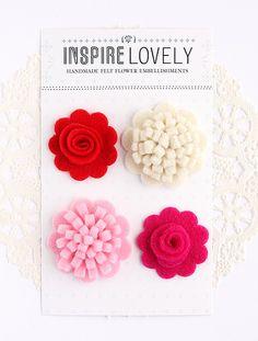 cute felt flower pins