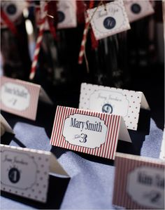 red and white place card ideas