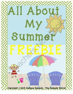 All About My Summer - FREEBIE from The Kennedy Korral on TeachersNotebook.com -  (10 pages)  - Summer Writing Activities
