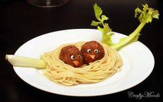 Baby bird spaghetti! With eyes!