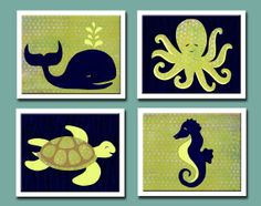 Nursery Art,  Sea Creature Nursery, Ocean Nursery, Baby Boy Nursery, Under the Sea, Ocean Animals, Sea Horse, Turtle, Octopus, Whale