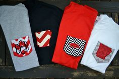 Monogrammed Razorback pocket tees by adeichhorn on Etsy, $22.00