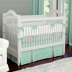 Mint Herringbone Crib Bedding by Carousel Designs.  Sweet and simple, our Mint Herringbone collection is the perfect addition to your nursery. Accented with Cloud Gray this contemporary Herringbone will make decorating a breeze.