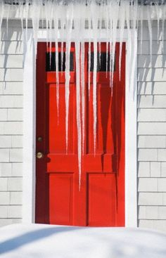 **Icicles over red door
